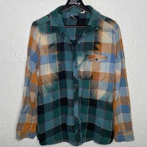Vintage Custom Bleach Dye Button Down Flannel